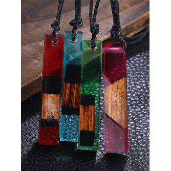 Wood Resin Geometric Pendant Necklace -  RED