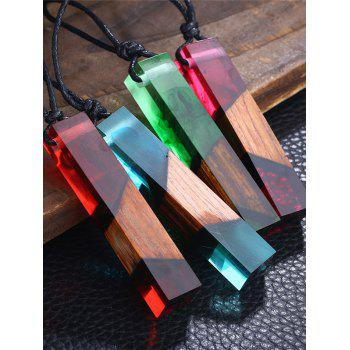 Wood Resin Geometric Pendant Necklace -  BLUE