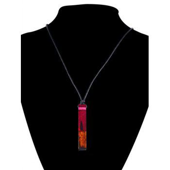 Resin Wooden Geometric Collarbone Necklace -  RED