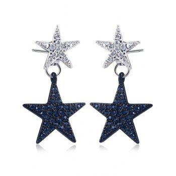 Rhinestone Double Star Front Back Earrings - BLACK + SILVER BLACK / SILVER