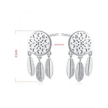 Sterling Silver Dream Catcher Feather Earrings - SILVER
