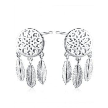 Sterling Silver Dream Catcher Feather Earrings - SILVER SILVER