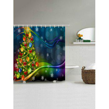 Christmas Baubles Tree Print Fabric Waterproof Shower Curtain - COLORMIX W71 INCH * L79 INCH