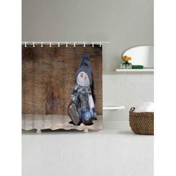 Snowman Christmas Wood Grain Waterproof Bath Curtain - WOOD COLOR W59 INCH * L71 INCH