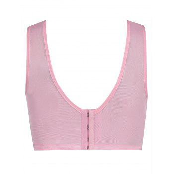 Padded Wirefree Lace Insert Plus Size Bra - PINK 2XL