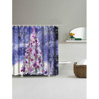 Christmas Tree Snowscape Waterproof Bath Curtain - LARKSPUR W71 INCH * L71 INCH