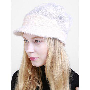 Beaded Embellished Rhombus Plaid Newsboy Hat - BEIGE BEIGE