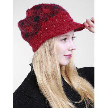 Beaded Embellished Rhombus Plaid Newsboy Hat - CLARET
