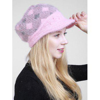 Beaded Embellished Rhombus Plaid Newsboy Hat - PINK