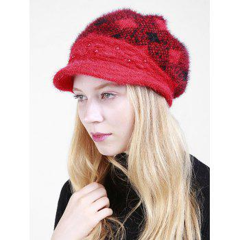 Beaded Embellished Rhombus Plaid Newsboy Hat - BRIGHT RED BRIGHT RED
