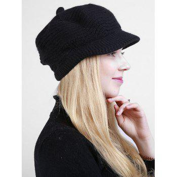 Wave Shape Knitted Newsboy Hat -  BLACK