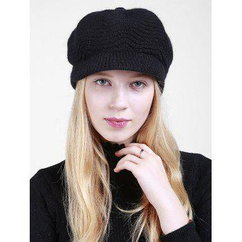 Wave Shape Knitted Newsboy Hat - BLACK BLACK