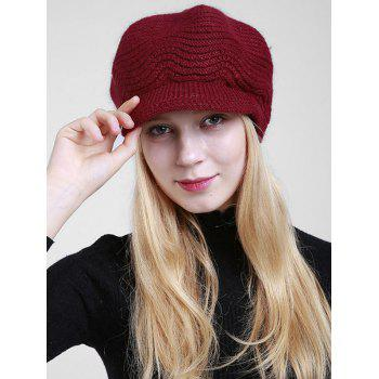 Wave Shape Knitted Newsboy Hat - DARK RED DARK RED