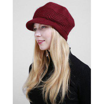 Wave Shape Knitted Newsboy Hat -  DARK RED