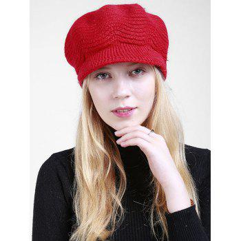 Wave Shape Knitted Newsboy Hat - BRIGHT RED BRIGHT RED