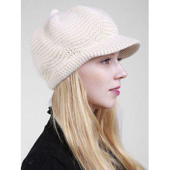 Wave Shape Knitted Newsboy Hat - OFF WHITE