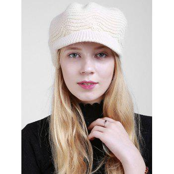 Wave Shape Knitted Newsboy Hat - OFF-WHITE OFF WHITE