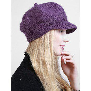 Wave Shape Knitted Newsboy Hat -  DEEP PURPLE