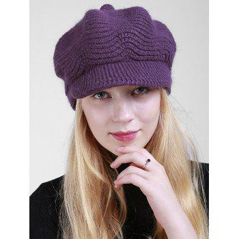 Wave Shape Knitted Newsboy Hat - DEEP PURPLE DEEP PURPLE