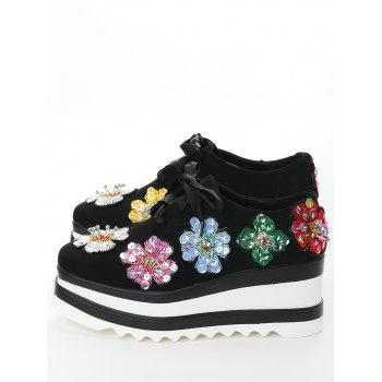 Flowers Square Toe Wedge Shoes - 34 34