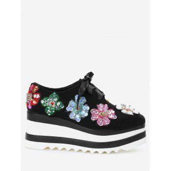 Flowers Square Toe Wedge Shoes - BLACK 37