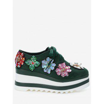 Flowers Square Toe Wedge Shoes - ARMY GREEN 38