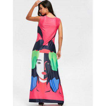Character Print Maxi Swing Dress - WATERMELON RED M