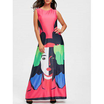 Character Print Maxi Swing Dress - WATERMELON RED XL