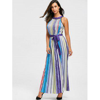 Rainbow Color Striped Maxi Dress - COLORFUL S