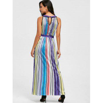 Rainbow Color Striped Maxi Dress - COLORFUL XL