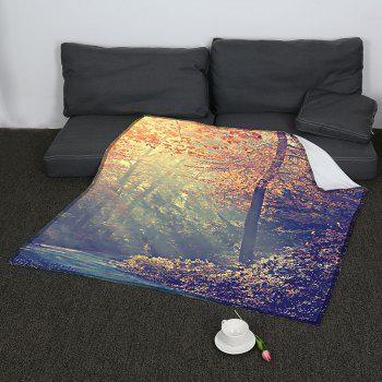 Maple Pattern Coral Fleece Sofa Blanket - COLORMIX COLORMIX