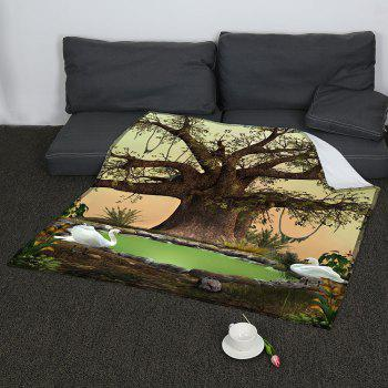 Life Tree Swans Lake Patterned Coral Fleece Blanket - GREEN W47INCH*L59INCH