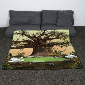 Life Tree Swans Lake Patterned Coral Fleece Blanket - GREEN W59 INCH * L79 INCH
