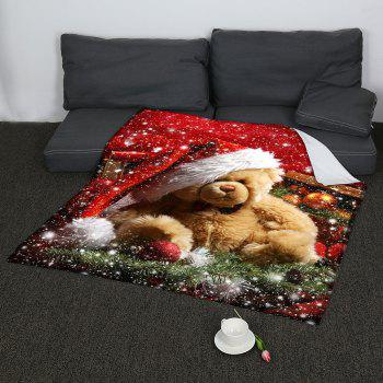 Christmas Bear Pattern Coral Fleece Sofa Blanket - COLORFUL W47INCH*L59INCH