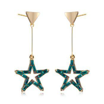 Faux Crystal Star Triangle Drop Earrings - GOLDEN GOLDEN