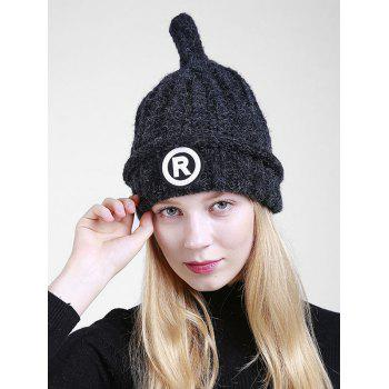 Soft Letter Pattern Crochet Pointy Beanie - BLACK BLACK