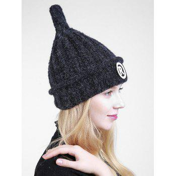 Soft Letter Pattern Crochet Pointy Beanie -  BLACK