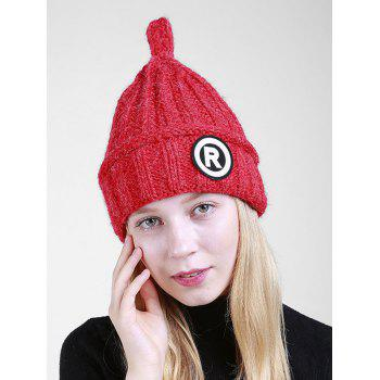 Soft Letter Pattern Crochet Pointy Beanie - RED RED