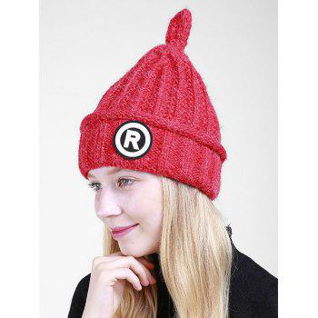 Soft Letter Pattern Crochet Pointy Beanie - RED