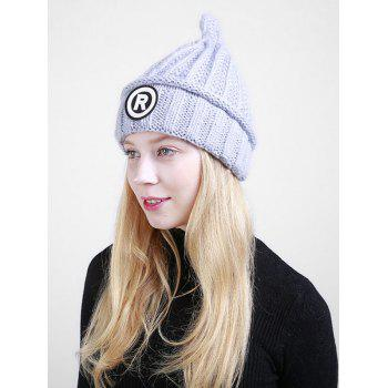 Soft Letter Pattern Crochet Pointy Beanie -  GRAY