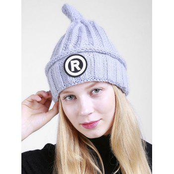 Soft Letter Pattern Crochet Pointy Beanie - GRAY GRAY