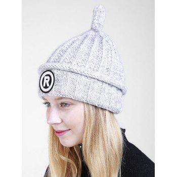 Soft Letter Pattern Crochet Pointy Beanie -  LIGHT GRAY
