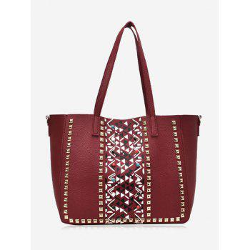 Studs Geometric 3 Pieces Tote Bag Set - RED RED