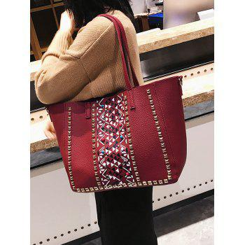 Studs Geometric 3 Pieces Tote Bag Set - RED