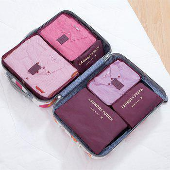 6 Pcs Travel Organizer Storage Bags - WINE RED WINE RED
