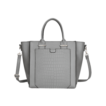 Embossing PU Leather Handbag -  GRAY