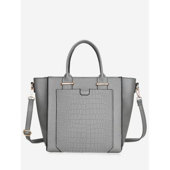 Embossing PU Leather Handbag - GRAY GRAY