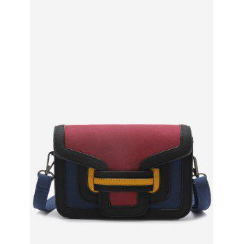 Color Blocking Stitching Crossbody Bag - RED RED