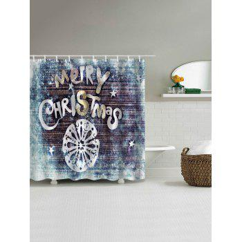 Merry Christmas Wood Print Fabric Rideau de douche imperméable à l'eau - multicolorcolore W59 INCH * L71 INCH