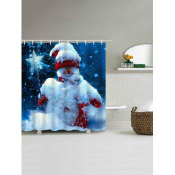 Magic Stick Snowman Christmas Waterproof Bath Curtain - BLUE W59 INCH * L71 INCH